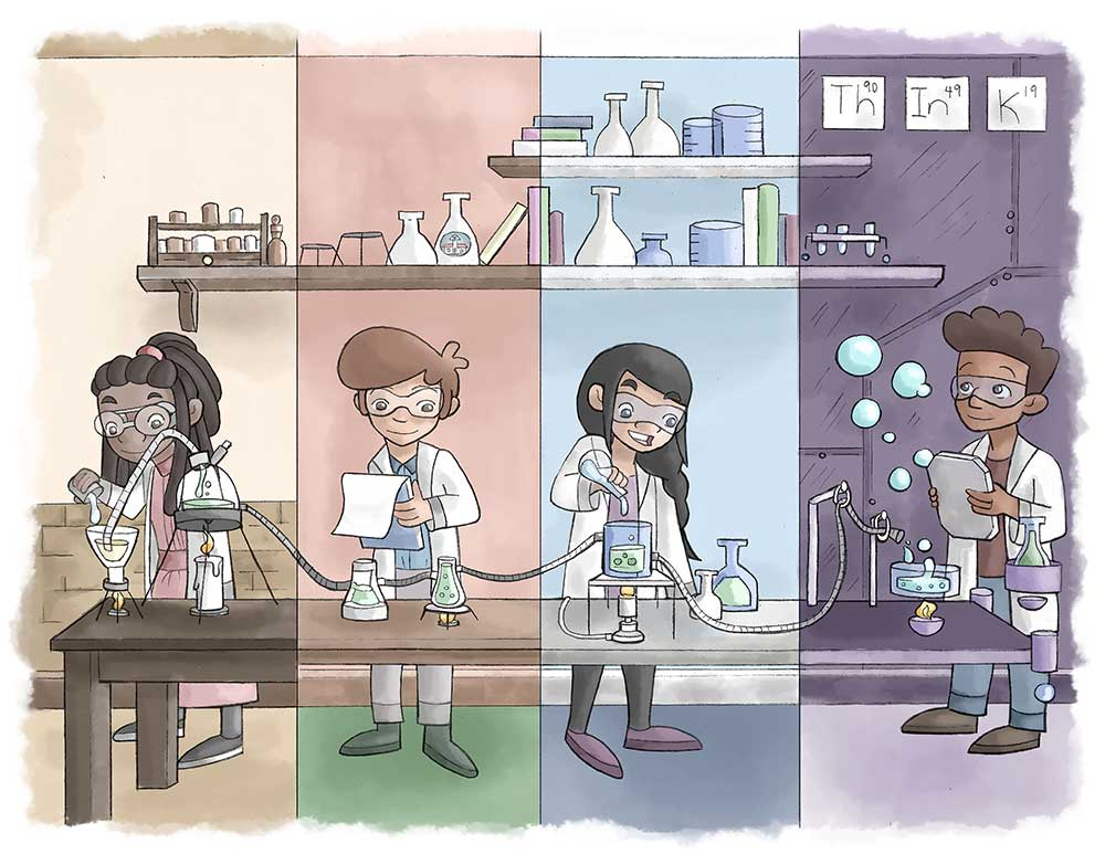 The research, cartoon of multicultural kids playing with science