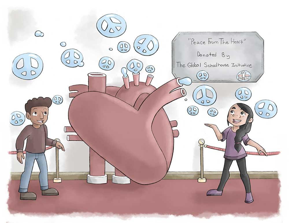 The issue, cartoon two children, heart beating peace signs