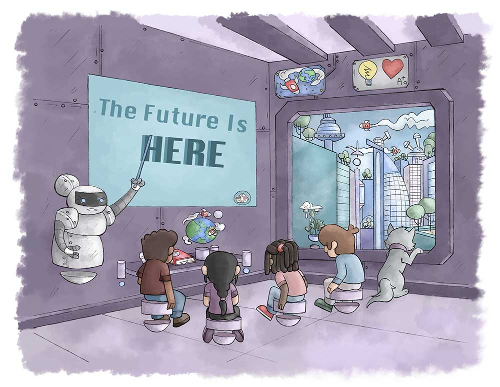 The solution, cartoon of futuristic school room with children and cat looking out the window